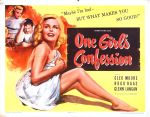 one_girls_confession_poster_02 50s 1950s Poster Movie Girls Women Bad Illustration Pulp Exploitation